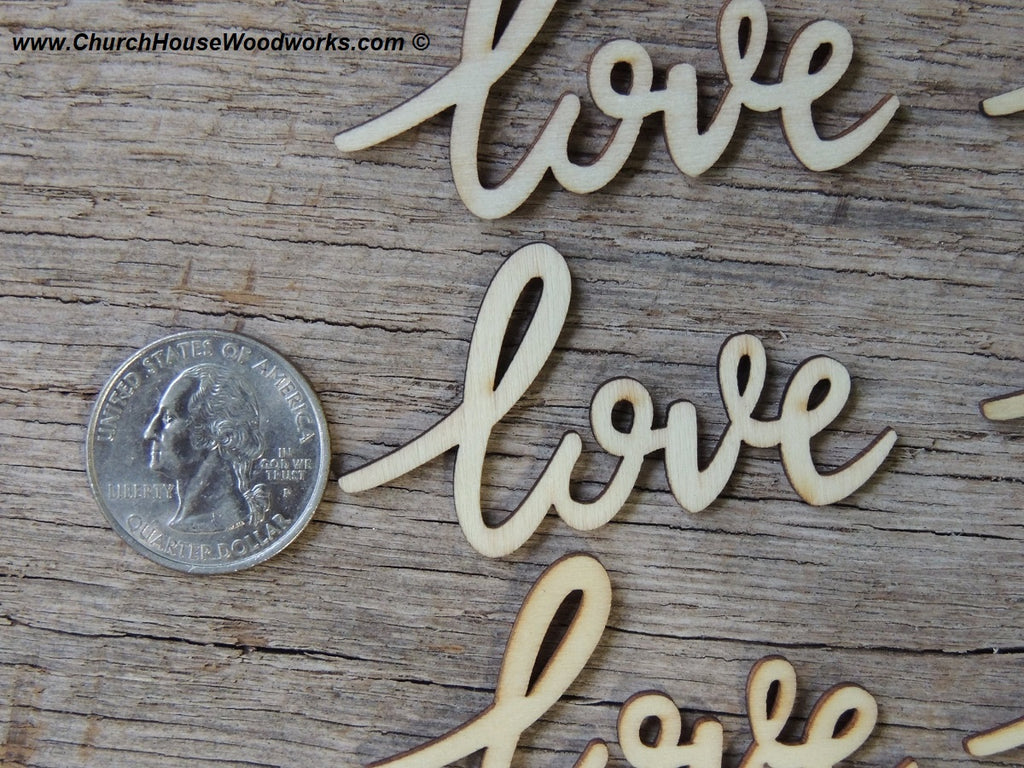 love wood cursive word 25ct church house woodworks