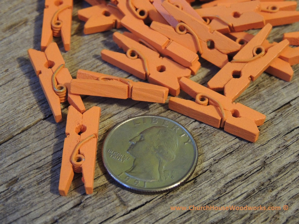 Mini Orange Clothespins Pack of 100 by ChurchHouseWoodworks.com