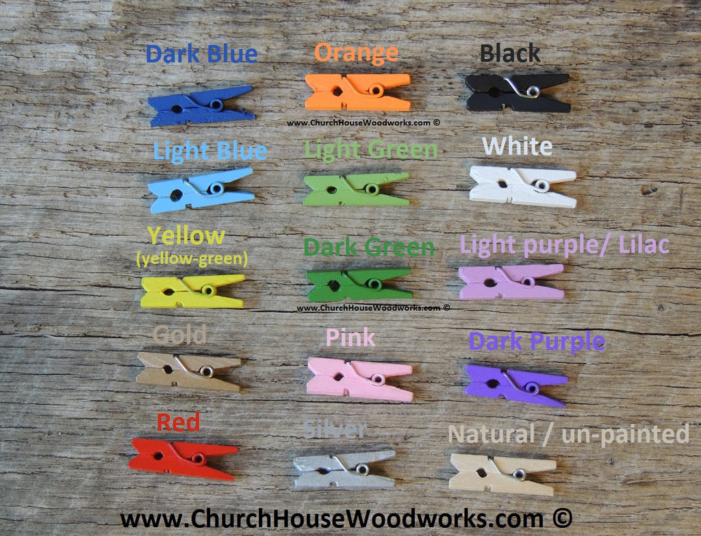 Pack of 100 Dark Green Mini Clothespins by ChurchHouseWoodworks.com