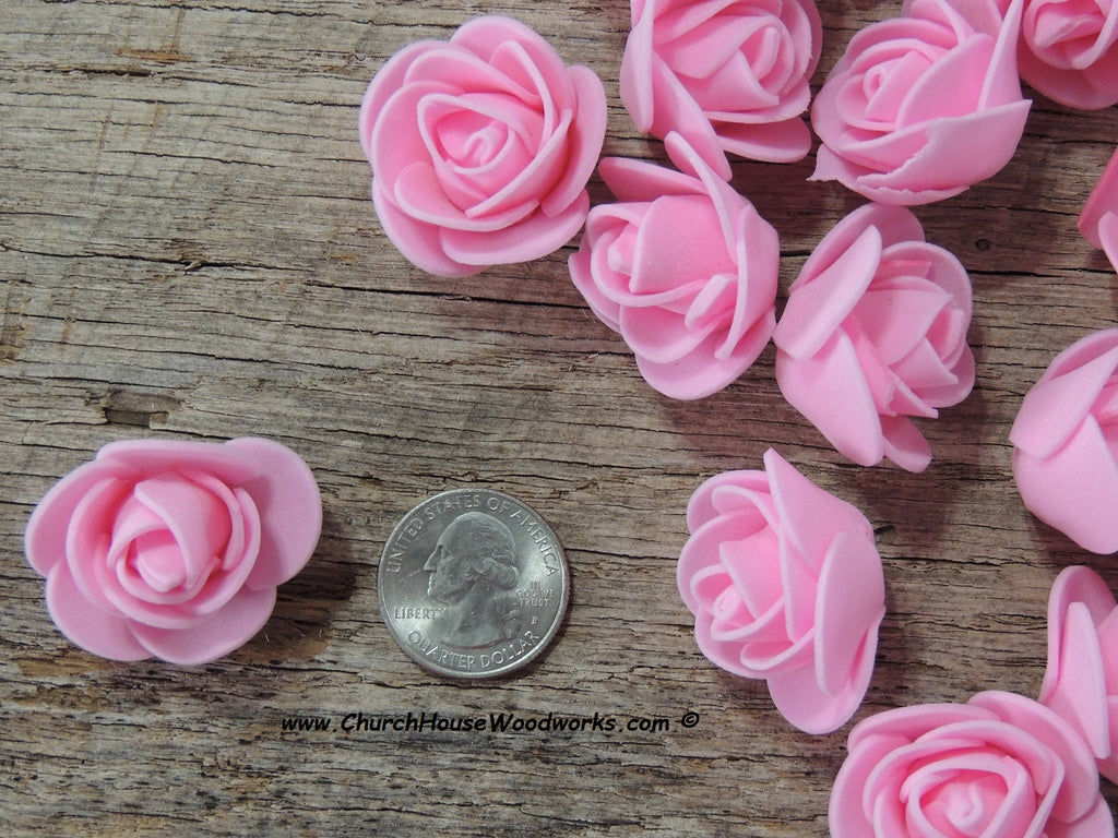 1 inch pink foam roses floral wedding shower reception table decor crafts hair accessories