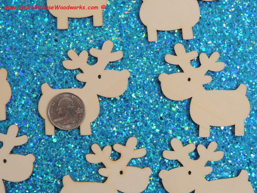 2 Inch wood Reindeer for crafts shapes woodcraft Christmas ornaments scrapbooks favors holiday