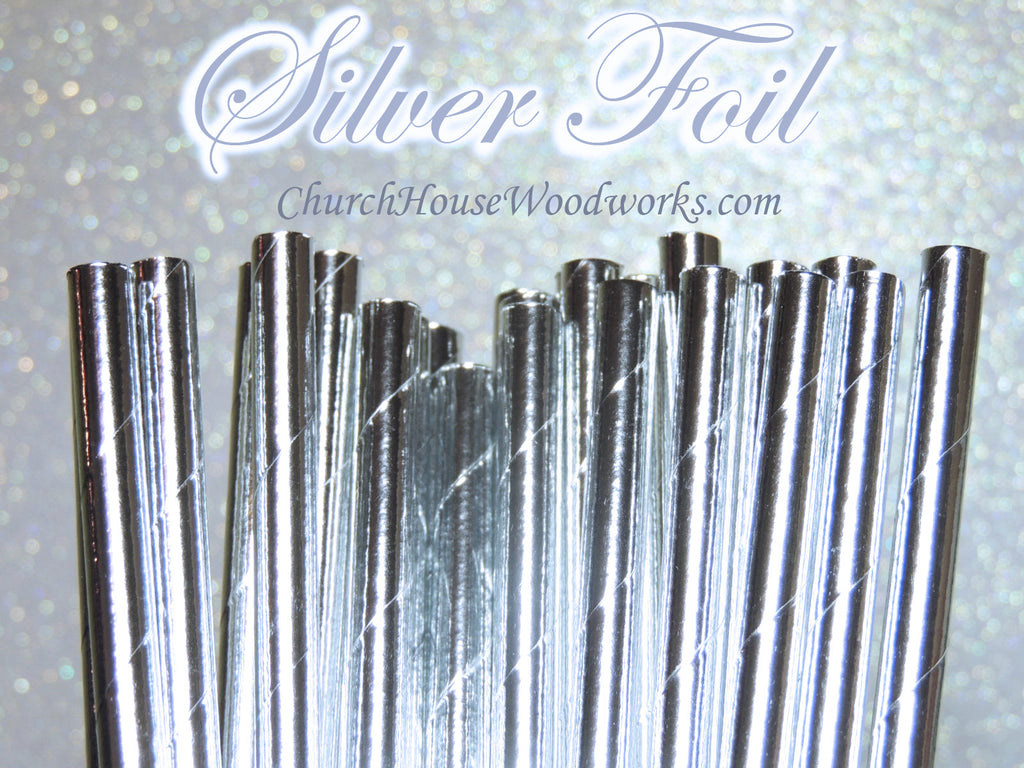 Silver Foil Paper Straws for Weddings events birthdays decorations