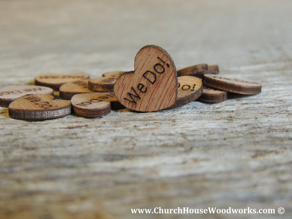 "Tiny Wooden Engraved ""We Do!"" Hearts."
