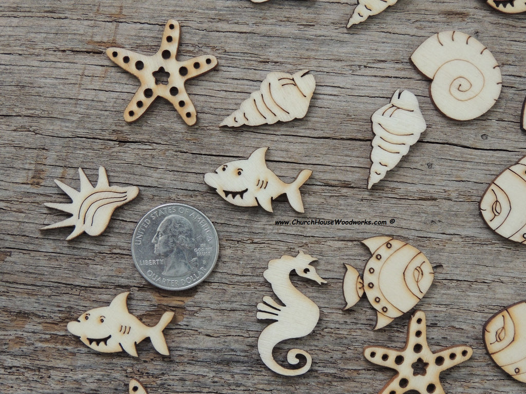50 marine life sea creature wood pieces shapes star fish, seahorse, shark, fish, conch shell, sea shells crafts ornaments embellisments diy