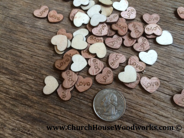 Wood Love Heart Table Confetti