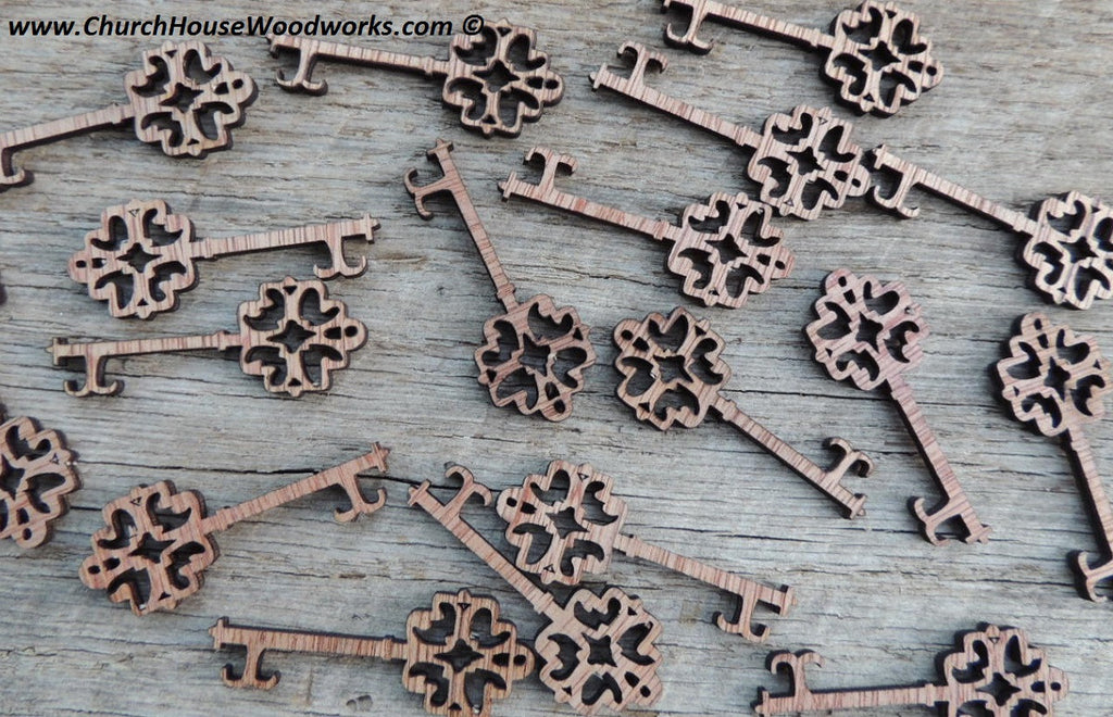Wooden skeleton keys for weddings parties favors gifts jewelry decor decoration woodcraft wood shapes
