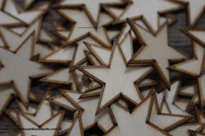 50 qty 1.25 inch Stars with BORDER Tiny Laser Cut Mini Wood Stars 1-1/4 - Rustic Decor - Wooden Stars- DIY Craft Supplies 32mm Wood Flag