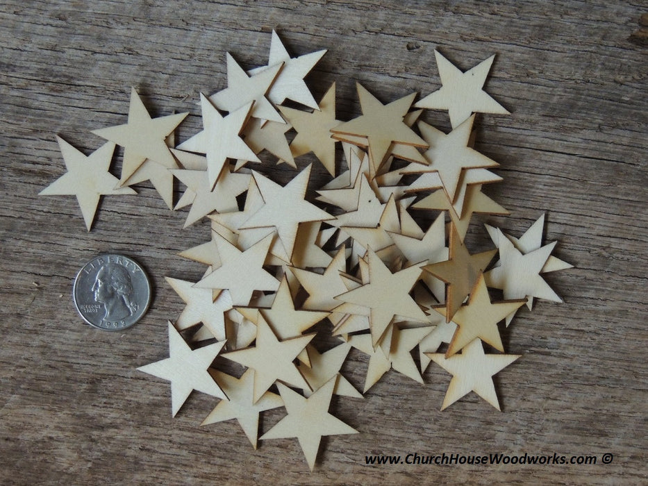 1-1/4 inch wood stars for crafts flag making Christmas Crafts