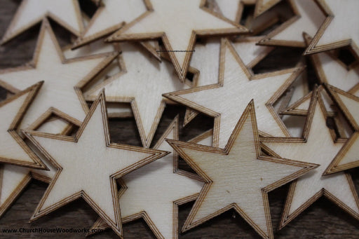 50 qty 1.5 inch Stars with BORDER Tiny Laser Cut Mini Wood Stars 1-1/2 - Rustic Decor - Wooden Stars- DIY Craft Supplies 38mm Wood Flag
