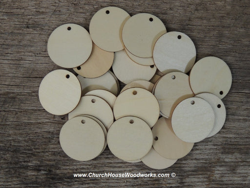 1.5 inch wood tag circle craft disk with hole DIY ornament making