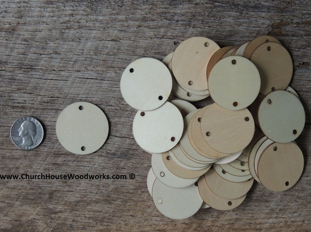 2 HOLE Wood Craft TAGS - 50 ct - 1-1/2 inch