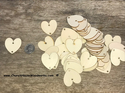 1.5 wood heart tags with one hole family calendar crafts weddings
