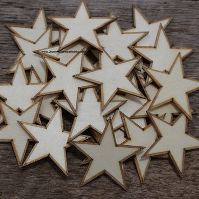 50 qty 1.75 inch Stars with BORDER Tiny Laser Cut Mini Wood Stars 1-3/4 - Rustic Decor - Wooden Stars- DIY Craft Supplies 45mm Wood Flag