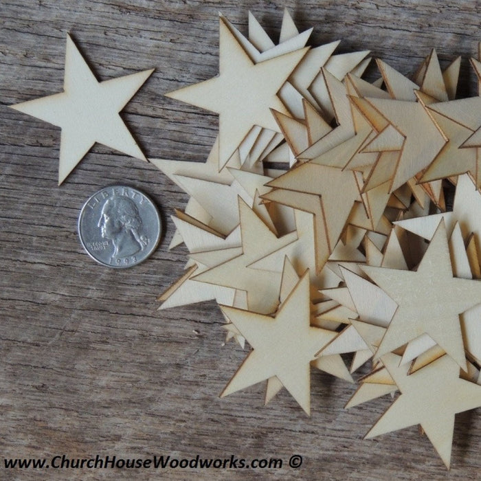 1-3/4 inch wood stars for crafts flag making Christmas Crafts