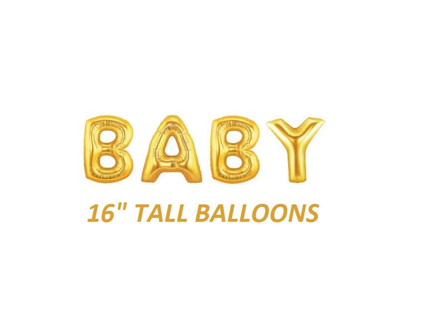 Gold BABY balloons for baby shower party