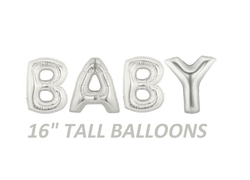 Silver BABY word letter balloons for baby showers photo props