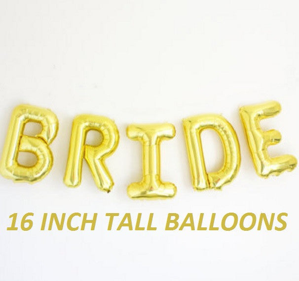 16 inch tall gold bride word balloons for wedding bridal shower reception