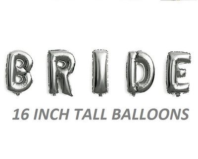 Silver Bride balloons for rustic weddings bridal showers wedding decorations receptions