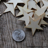50 Little Wood Stars Very Small 1-1/2 inch size