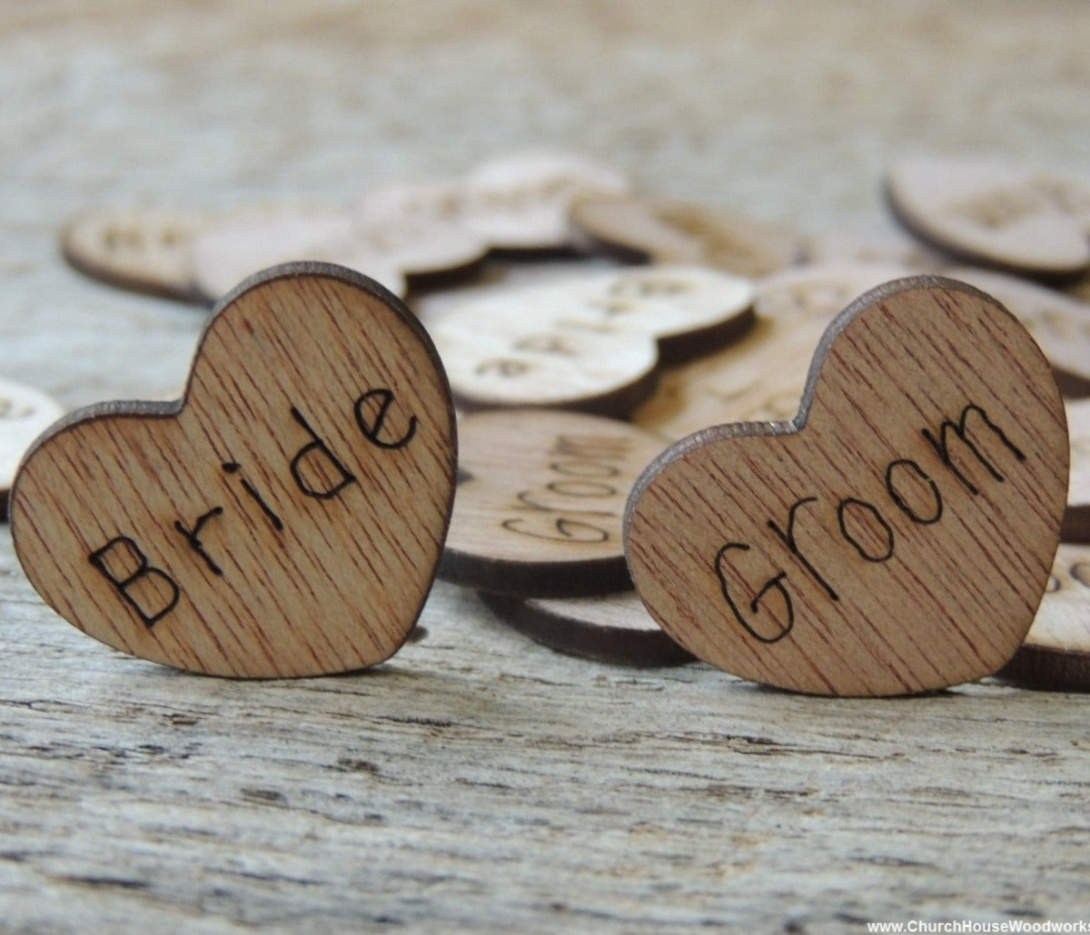 Bride Groom Wood Hearts For Rustic Wedding Table Decorations Confetti