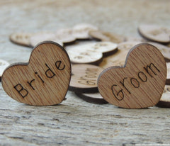 Bride Groom Wood Hearts ~ 100 ct -  1 inch
