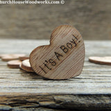 It's A Boy wood hearts confetti for baby showers birth announcements gender reveals