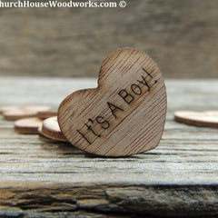 It's A Boy! Wood Hearts- Wood Burned 100 count