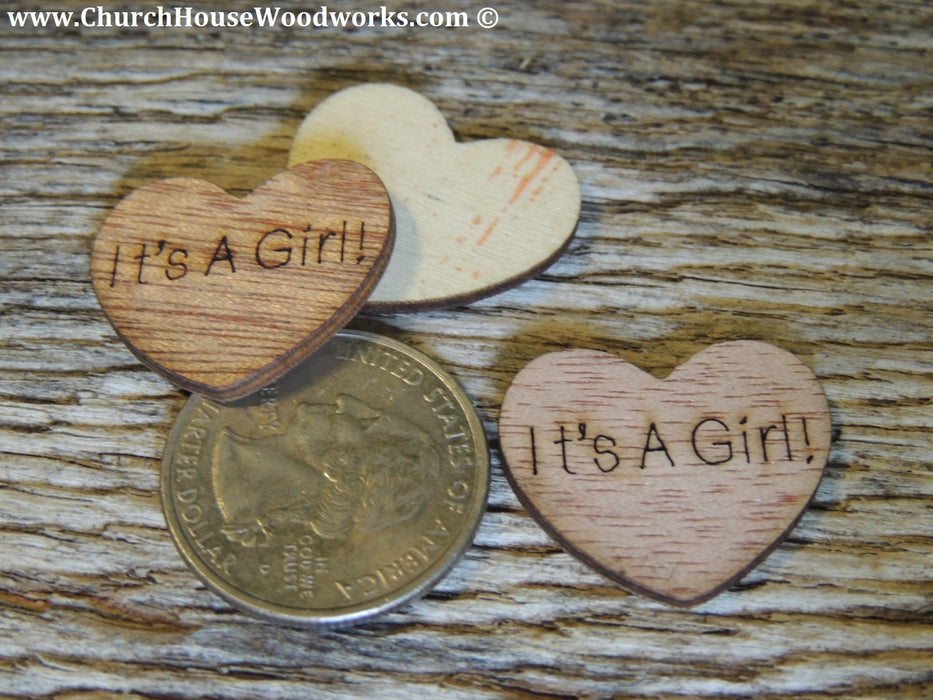 It's A Girl wood hearts for baby showers birth announcements gender reveals