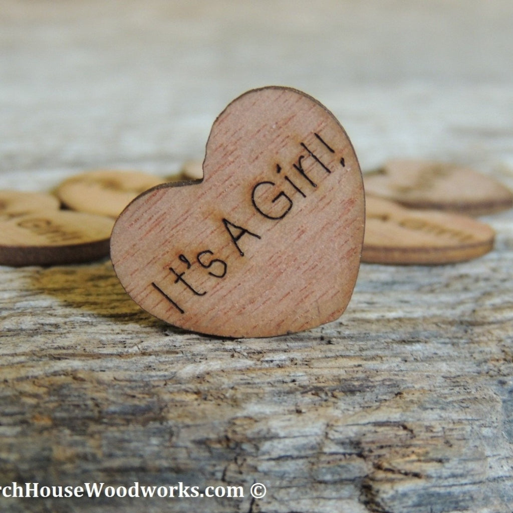 It's A Girl! Wood Hearts- Wood Burned 100 count