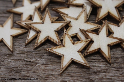 50 qty 1 inch Stars with BORDER Tiny Laser Cut Mini Wood Stars one inch - Rustic Decor - Wooden Stars- DIY Craft Supplies 25mm Wood Flag
