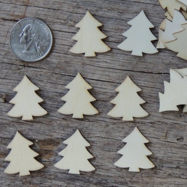 50 mini wooden christmas tree ornaments light wood 1 inch - Wooden Christmas Trees