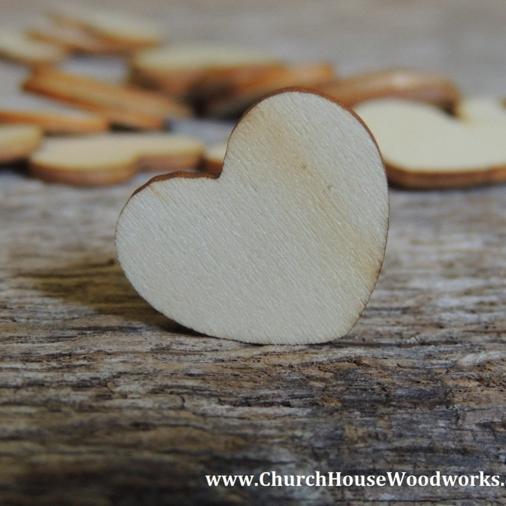 "Blank 1"" Wood Hearts- Wood Burned 100 count"