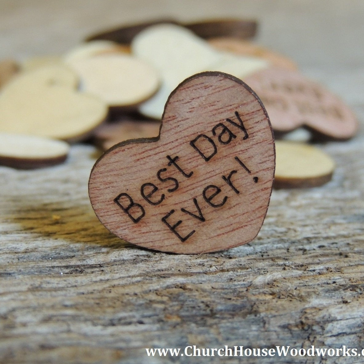 Best day ever wood hearts 100 ct 1 inch church for Best day for a wedding