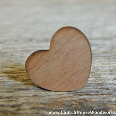 "Blank 1"" Wood Hearts Dark - 100 ct - 1 inch"