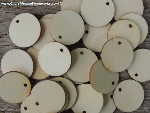 1 inch wood tag circle craft disk with hole DIY ornament making