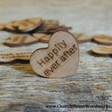 Happily Ever After Wood Hearts- Wood Burned 100 count