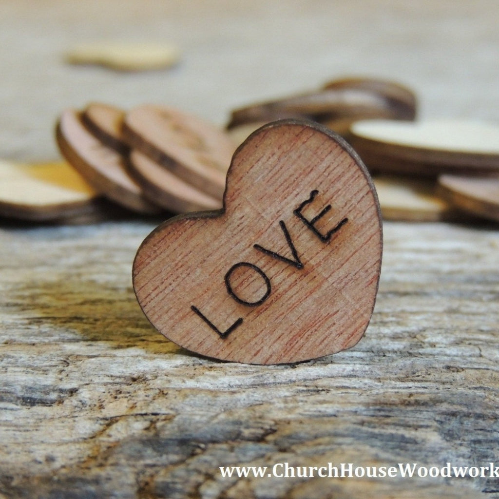 LOVE Wood Hearts- Wood Burned 100 count