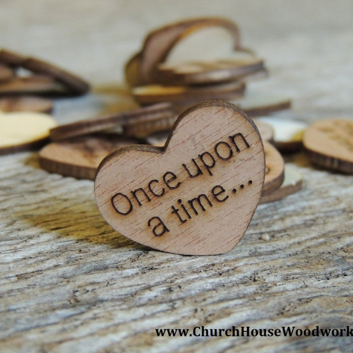 Once upon a time... Wood Hearts -100 ct - 1 inch