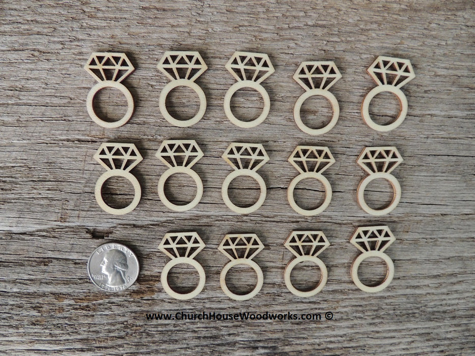 Wooden Diamond Ring for Wedding Ring Decor Table Confetti Embellishments Shapes Crafts