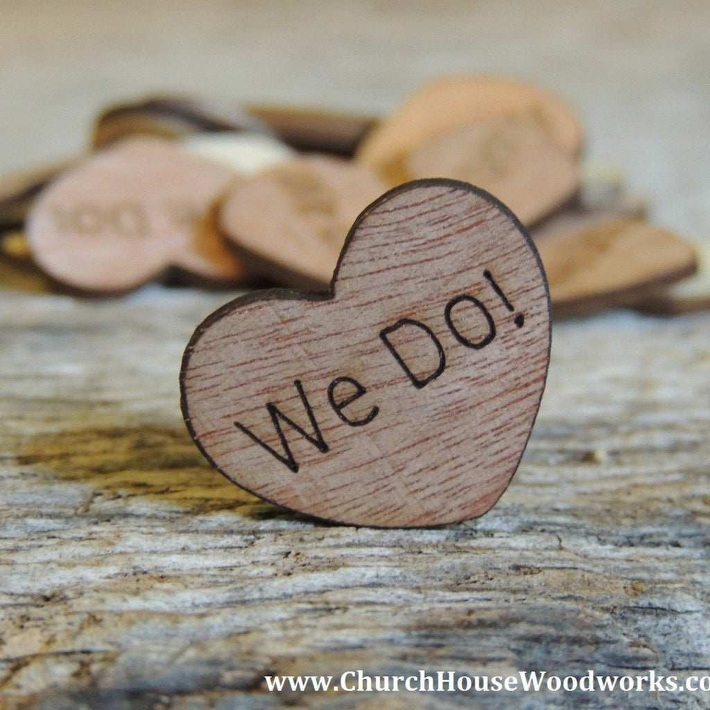 We Do! Wood Hearts- Wood Burned 100 count