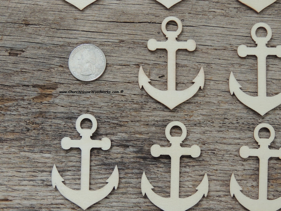25 qty 2 inch Captains Ship Anchor Wood Pendants for crafts, sewing, DIY projects, nautical, marine, boat anchor