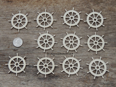25 qty 2 inch Captains Ship Steering Wheel Helm Wood Pendants for crafts, sewing, DIY projects, nautical, marine, boat anchor