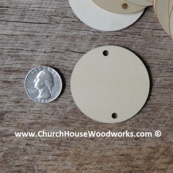 2 HOLE Wood Craft TAGS - 25 ct - 2 inch