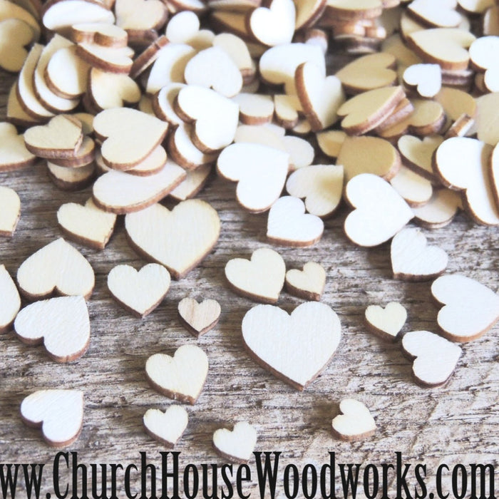50 Tiny Mini Wood Hearts