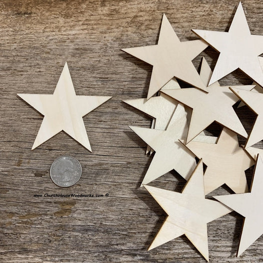 3 inch wood stars for wooden flags crafts art embellishments Christmas ornaments
