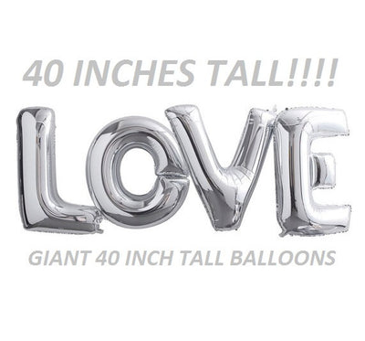 Giant Love Balloons silver wedding receptions bridal showers decorations
