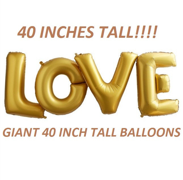 40 Inch Tall LOVE Balloons Gold