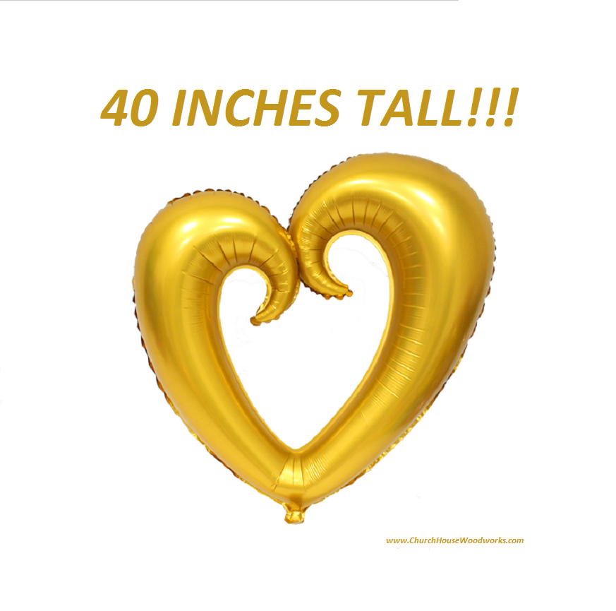 Giant 40 Inch Tall Heart Balloon Gold