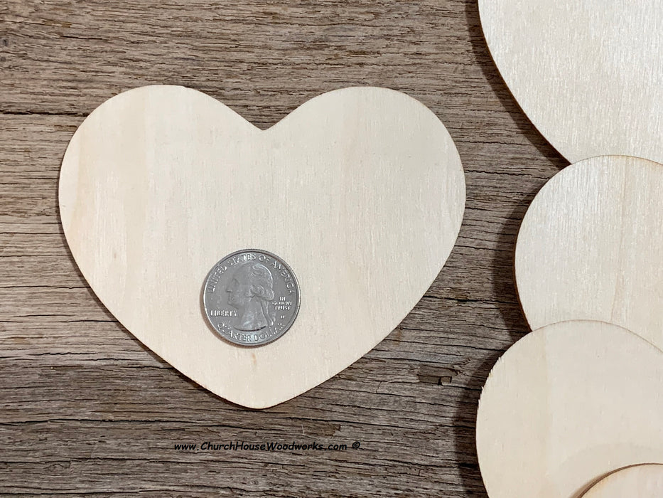 4 inch blank wood hearts for wedding crafts guestbook family ornaments signs