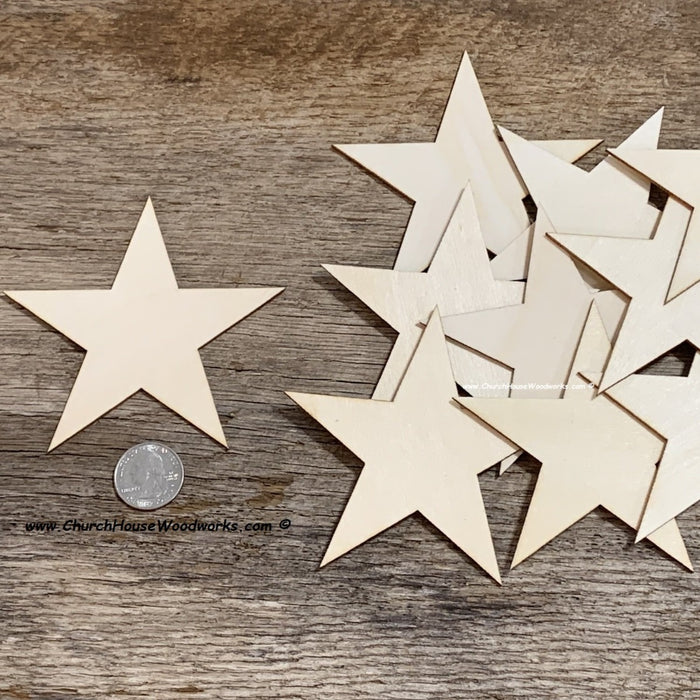 4 inch wood stars for wooden flags